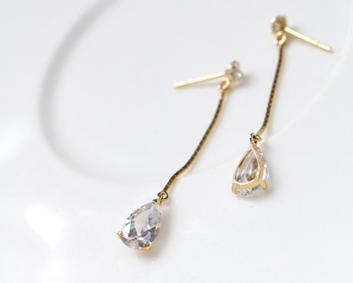14K 워터 드롭 귀걸이14K Water Heart Drop Earring